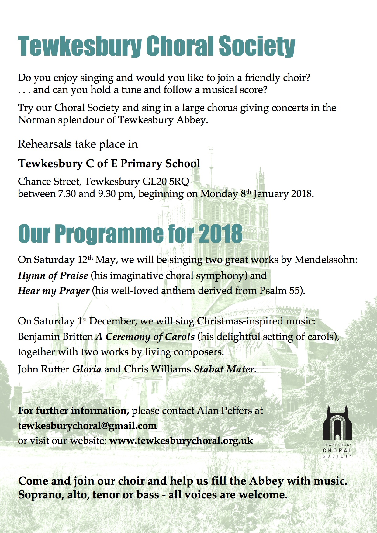 Join and General Info - Tewkesbury Choral